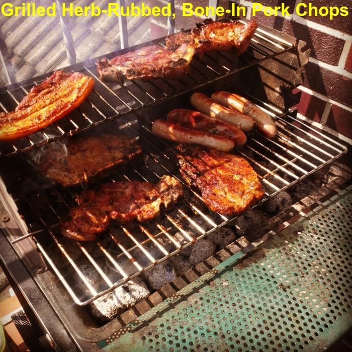 Grilled Herb-Rubbed, Bone-In Pork Chops