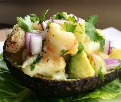 Protein Rich Shrimp-Pineapple Stuffed Avocados