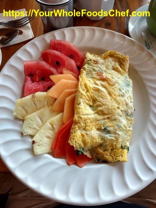 Vegetable Omlete with Fresh Fruit