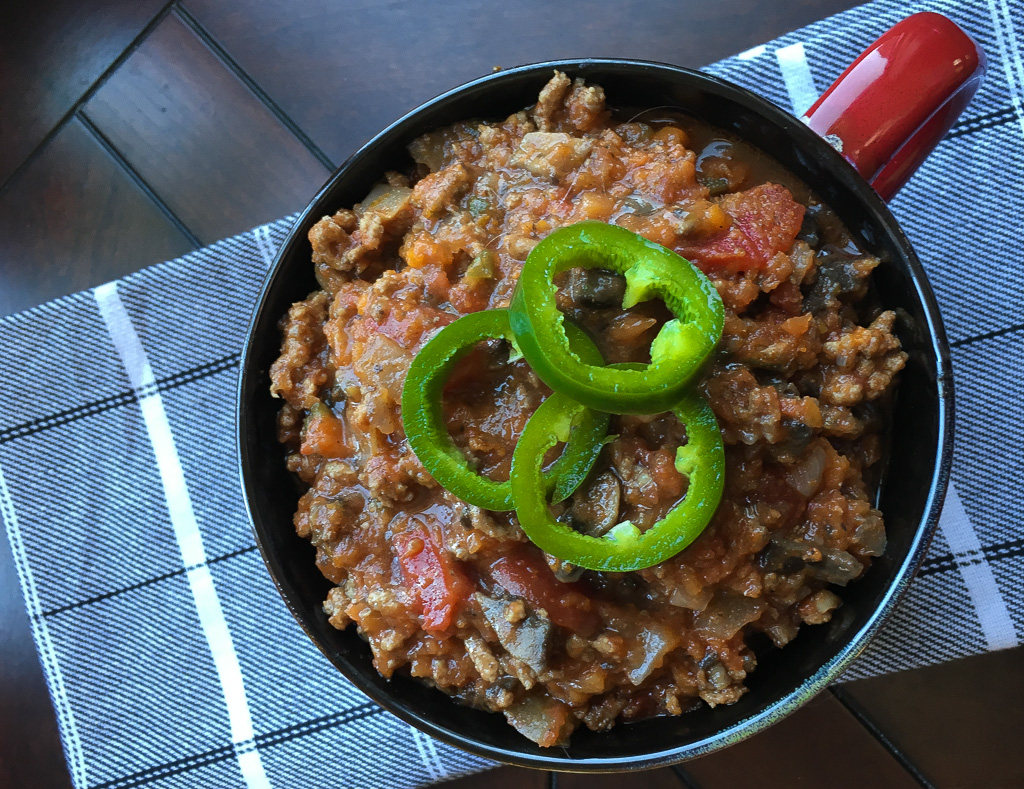 Keto Friendly Beef and Mushroom Chili