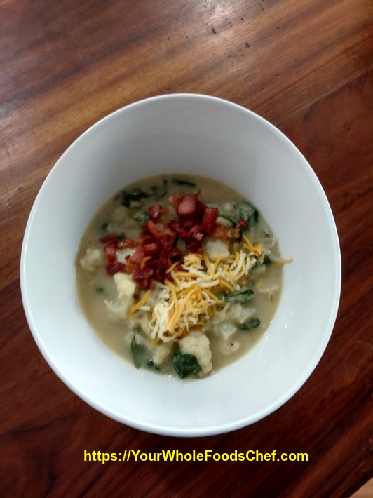 Keto Friendly Cauliflower Spinach Chowder